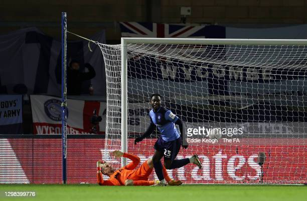 Fred Onyedinma of Wycombe Wanderers celebrates after scoring their sides first goal past Joe Hart of Tottenham Hotspur during The Emirates FA Cup...