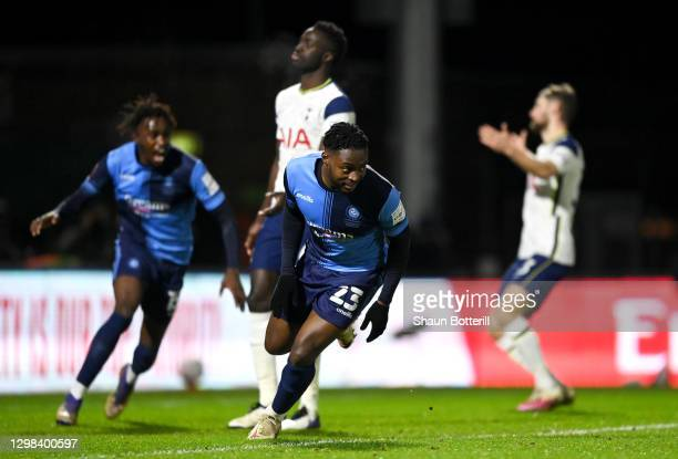 Fred Onyedinma of Wycombe Wanderers celebrates after scoring their sides first goal during The Emirates FA Cup Fourth Round match between Wycombe...