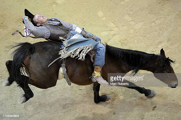 Fred Osmanof Gore competes in the Bareback Bronc Riding during the National Rodeo Finals on June 15 2013 on the Gold Coast Australia