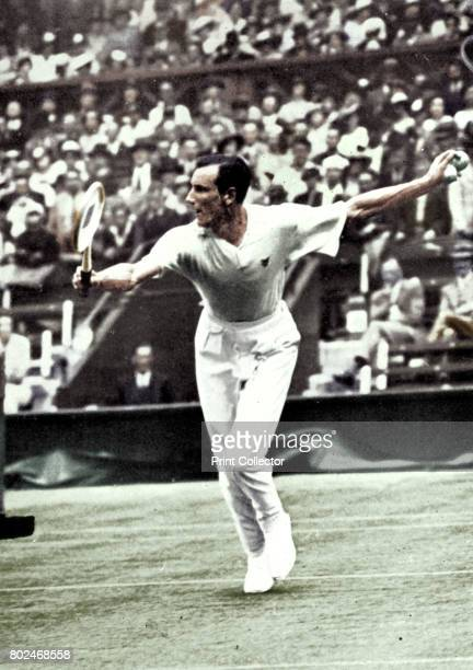 Fred Perry, 1934. A print from Wimbledon Story, by Norah Gordon Cleather, Sporting Handbooks Ltd, London, 1947. . Artist London News Agency..