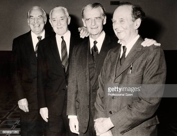 Fred Perry Pat Hughes Bunny Austin and Harry Lee of the 1933 GB Davis Cup Team pose for a photograph during the LTA Awards ceremony circa 1983