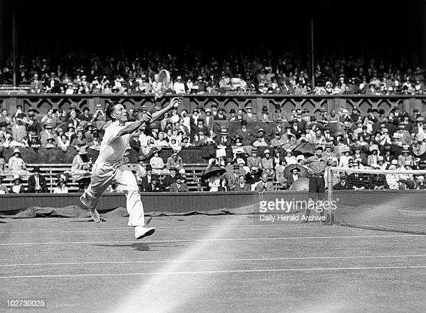 """Fred Perry, Wimbledon Tennis Championship, 23 June 1931. """" Tennis player Fred Perry in action during the Wimbledon Tennis Championship Tournament, 23..."""