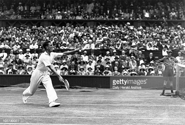 """Fred Perry, Wimbledon Tennis Championship Tournament, 1 July 1931. """" Tennis player Fred Perry in action during the Wimbledon Tennis Championship..."""