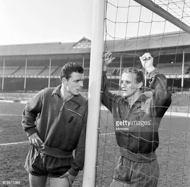 Fred Pickering and Alex Young in the goalmouth at Everton FC after training 11th March 1964