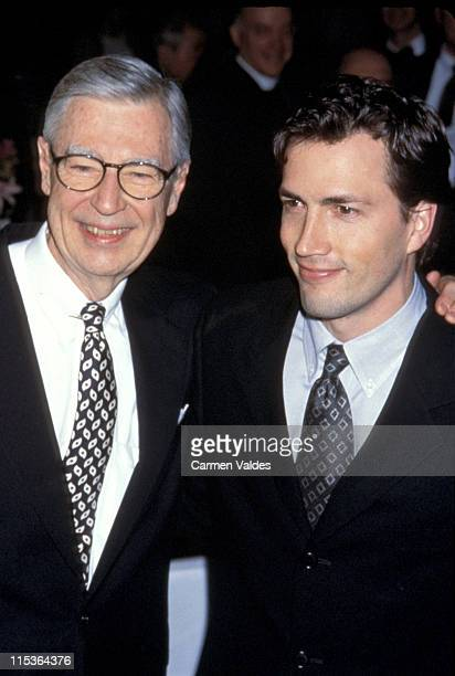 Fred Rogers and Andrew Shue during 52nd Annual Christopher Awards February 22 2001 at TimeLife Building in New York City New York United States