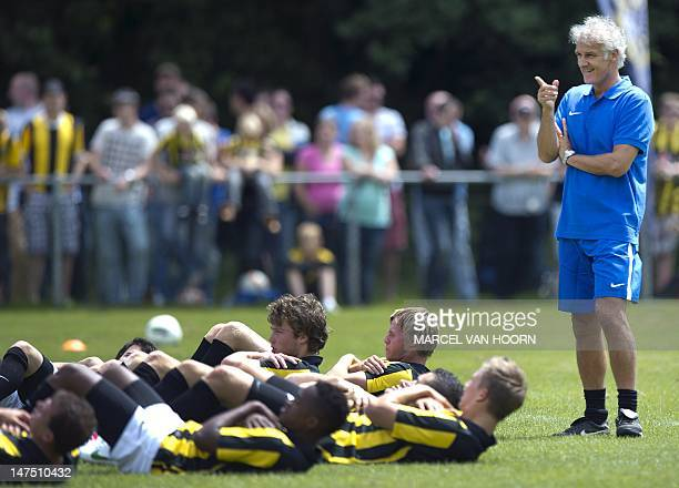 Fred Rutten the new head coach of the Dutch Vitesse football team gestures during the first training of the 2012 season on July 1 Rutten is replacing...