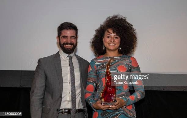 "Fred Salgin and Jade Doherty of ""Georgi and The Bot"" win Best Pitch at the Catalyst Content Awards Gala on October 13 2019 in Duluth Minnesota"