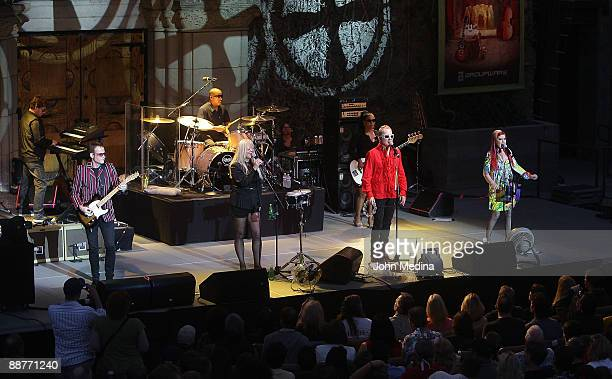 Fred Schneider, Kate Pierson, Cindy Wilson and The B-52's perform at The Mountain Winery on June 30, 2009 in Saratoga, California.