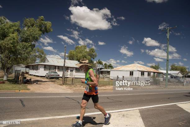 Fred Schneider of Charters Towers competes in the final leg of the Dirt 'n' Dust Triathlon which is part of the Julia Creek Dirt 'n' Dust Festival...