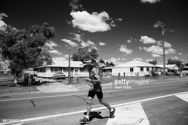 Fred Schneider of Charters Towers runs as he competes in the final leg of the Dirt 'n' Dust Festival 2017 Triathlon on April 8 2017 in Julia Creek...