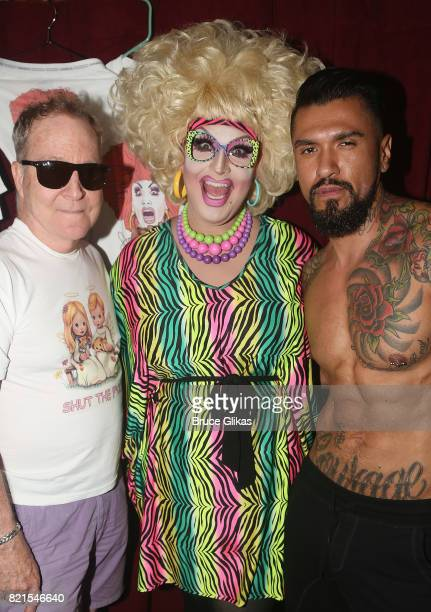 Fred Schneider of the B52's Jackie Beat and Boomer Banks pose backstage at Jackie Beat Birthday Bitch at The West Bank Cafe Theatre on July 23 2017...