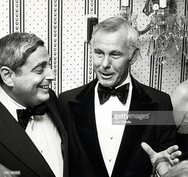 Fred Silverman and Johnny Carson during Friars' Club Salute to Johnny Carson as Entertainer of the Year 1979 at The WaldorfAstoria Hotel in New York...