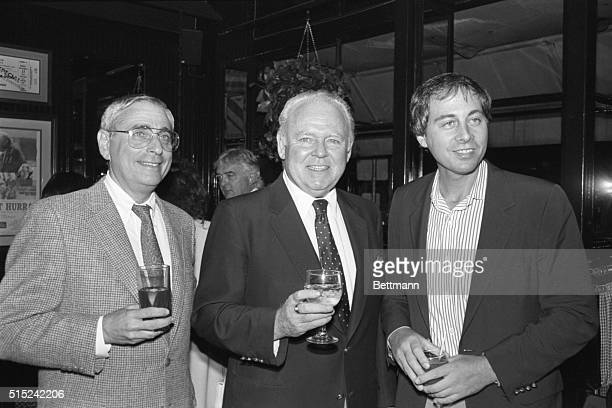 Fred Silverman Carroll O'Conner and Brandon Tartikoff get together at a party at O'Connor's restaurant Ginger Man to announce the actor's return to...