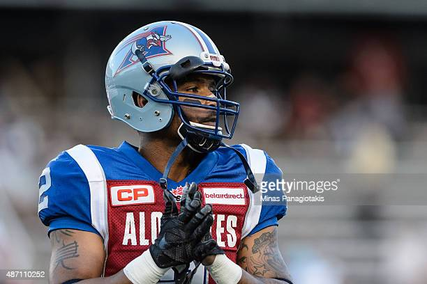 Fred Stamps of the Montreal Alouettes looks on during the warmup prior to the CFL game against the BC Lions at Percival Molson Stadium on September 3...