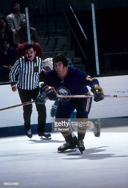 Fred Stanfield of the Buffalo Sabres skates on the ice during an NHL game against the California Golden Seals circa 1976 at the Oakland Coliseum in...