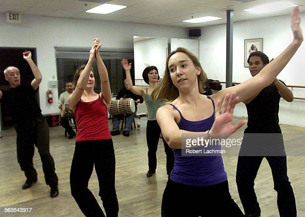 Fred Strickler Holly Scheall–Mehling Pauline Hagino Mindy Millard and Chris Burks of Rhapsody In Taps practice rehearsal at the Center Stage Dance...