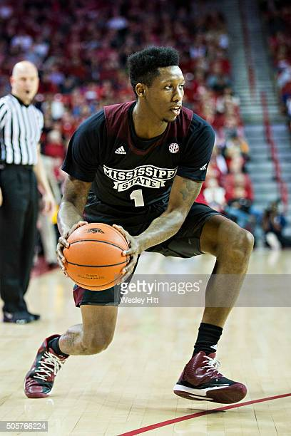 Fred Thomas of the Mississippi State Bulldogs makes a pass during a game against the Arkansas Razorbacks at Bud Walton Arena on January 9 2016 in...