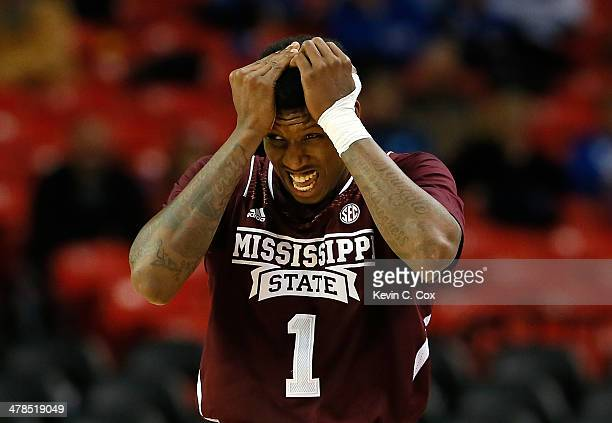 Fred Thomas of the Mississippi State Bulldogs reacts after drawing a foul against the Mississippi Rebels during the second round of the SEC Men's...