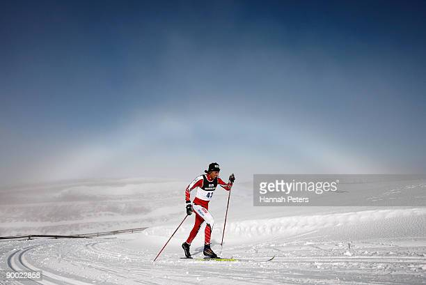 Fred Touchette of Canada competes in the men's 15km Cross Country Skiing during day two of the Winter Games NZ at the Snow Farm on August 23, 2009 in...