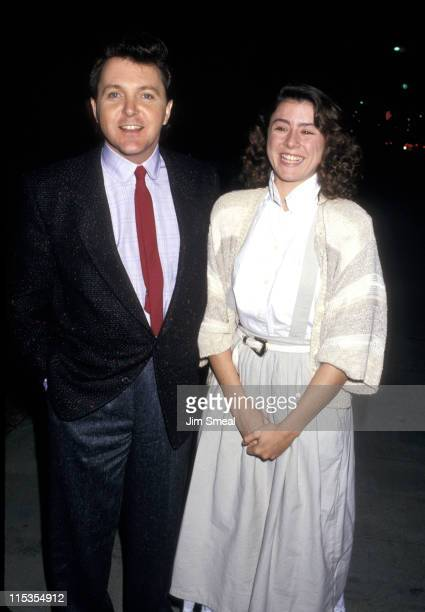 """Fred Travalena and guest during Premiere of """"Blind Date"""" at Academy Theater in Beverly Hills, California, United States."""