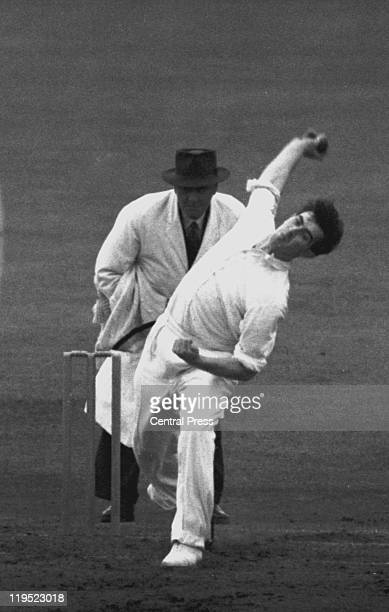 Fred Trueman bowls for England in the Third Test against India at Old Trafford Manchester 17th19th July 1952