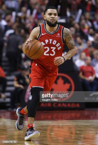 Fred Van Vleet of the Toronto Raptors dribbles the ball during the second half of the NBA season opener against the Cleveland Cavaliers at Scotiabank...