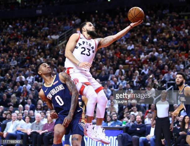 Fred Van Vleet of the Toronto Raptors shoots the ball as Nickeil AlexanderWalker of the New Orleans Pelicans defends during the second half of an NBA...