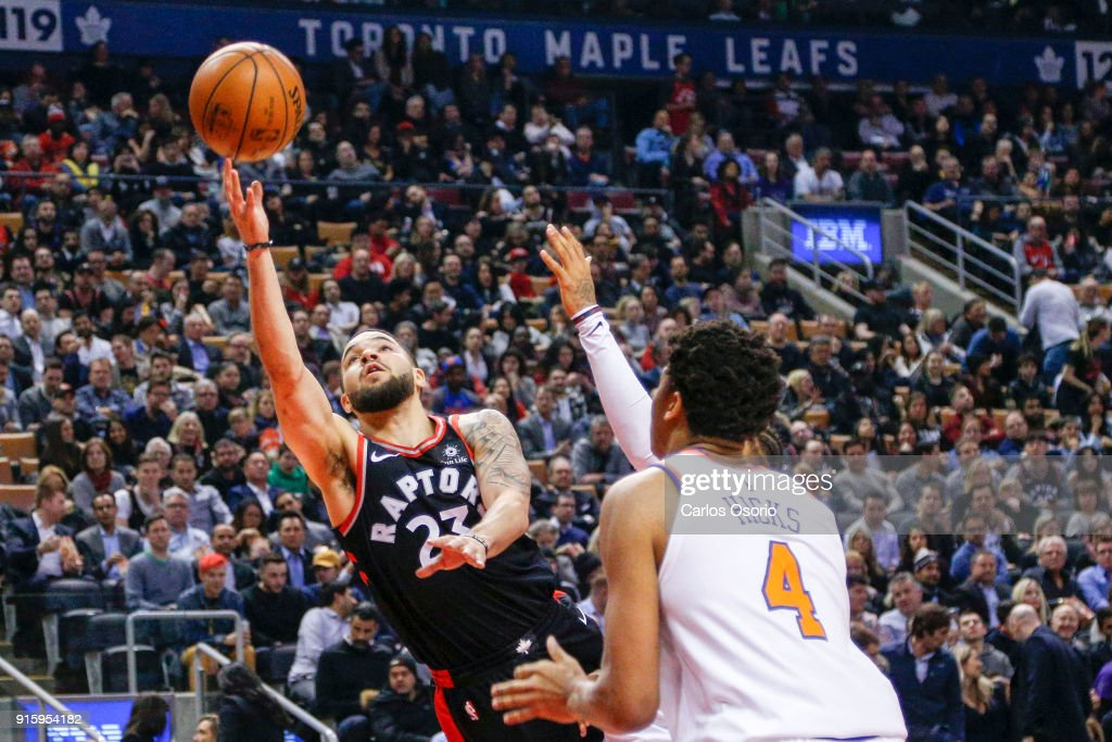 TORONTO, ON - FEBRUARY 8 - Fred VanVleet (23) of the Raptors puts up a shot during the 1st half of NBA action as the Toronto Raptors host the New York Knicks at the Air Canada Centre on February 8, 2018.