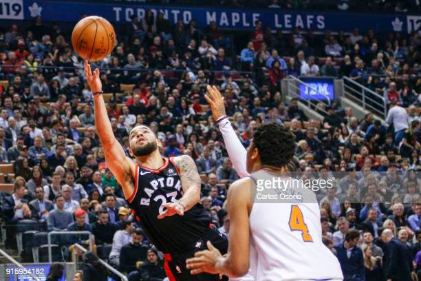 TORONTO ON FEBRUARY 8 Fred VanVleet of the Raptors puts up a shot during the 1st half of NBA action as the Toronto Raptors host the New York Knicks...