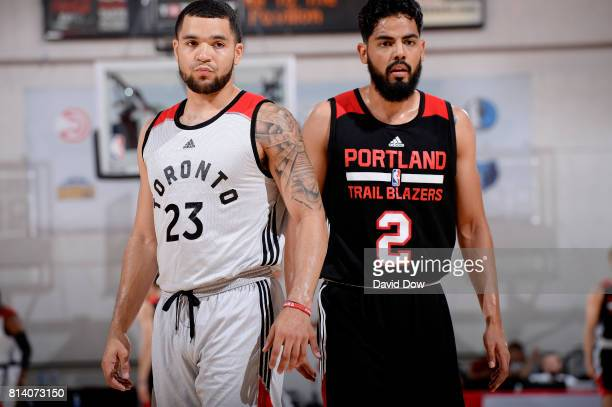 Fred VanVleet of the Toronto Raptors and Jorge Gutierrez of the Portland Trail Blazers look on during the 2017 Las Vegas Summer League game on July...