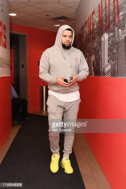 Fred VanVleet of the Toronto Raptors arrives at the arena before the game against the Milwaukee Bucks in Game Four of the Eastern Conference Finals...