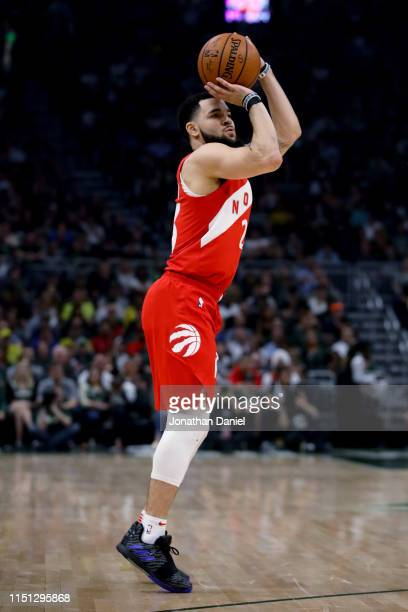 Fred VanVleet of the Toronto Raptors attempts a shot in the first quarter against the Milwaukee Bucks during Game Five of the Eastern Conference...
