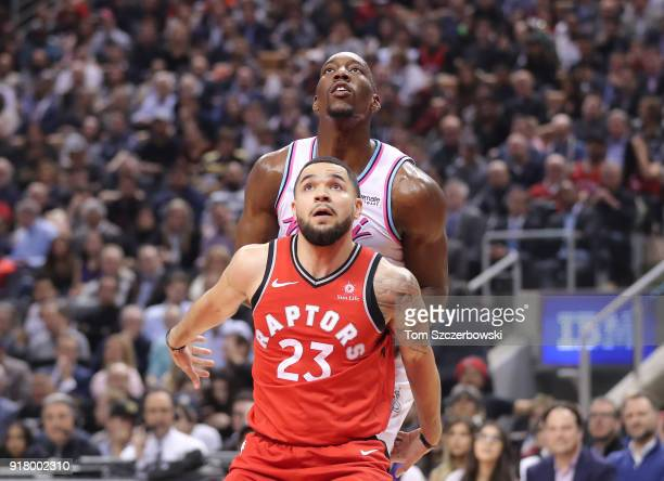 Fred VanVleet of the Toronto Raptors battles for positioning against Bam Adebayo of the Miami Heat in anticipation of a rebound at Air Canada Centre...