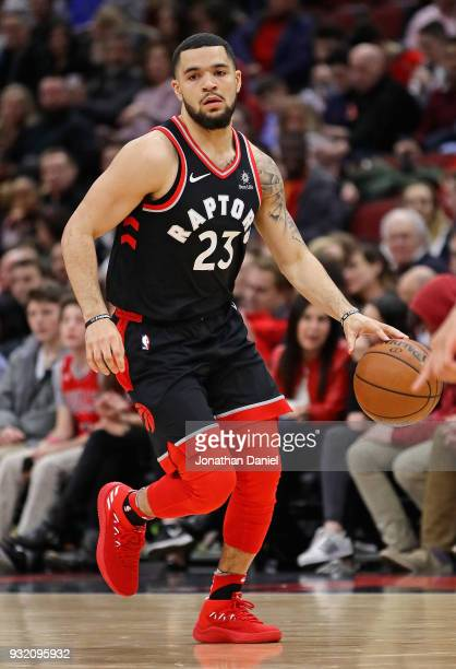Fred VanVleet of the Toronto Raptors brings the ball up the court against the Chicago Bulls at the United Center on February 14 2018 in Chicago...