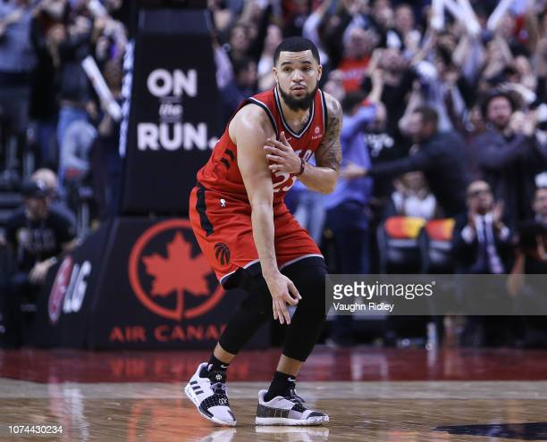 Fred VanVleet of the Toronto Raptors celebrates after sinking a late 3 pointer during the second half of an NBA game against the Indiana Pacers at...