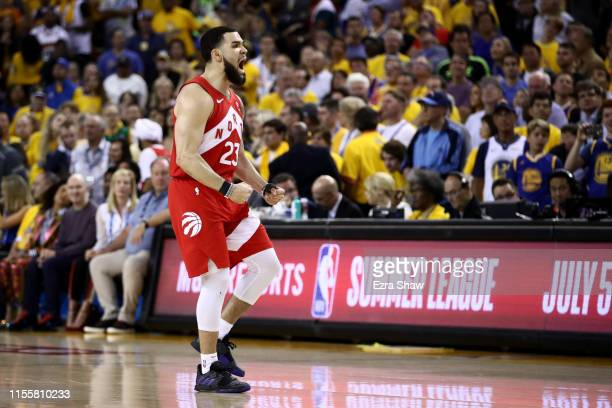 Fred VanVleet of the Toronto Raptors celebrates the basket against the Golden State Warriors in the second half during Game Six of the 2019 NBA...