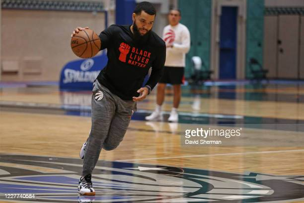 Fred VanVleet of the Toronto Raptors dribbles the ball during practice as part of the NBA Restart 2020 on July 22 2020 in Orlando Florida NOTE TO...