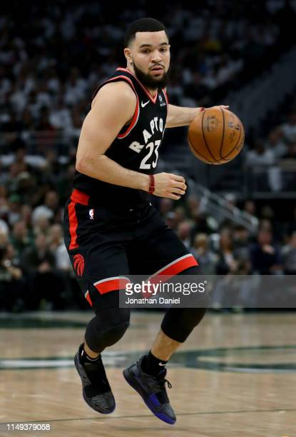Fred VanVleet of the Toronto Raptors dribbles the ball in the second quarter against the Milwaukee Bucks in Game One of the Eastern Conference Finals...