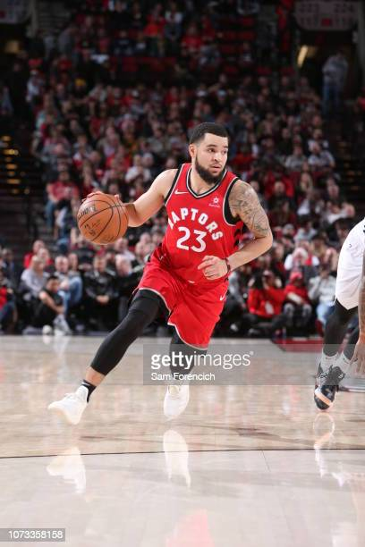 Fred VanVleet of the Toronto Raptors drives to the basket against the Portland Trail Blazers on December 14 2018 at the Moda Center Arena in Portland...