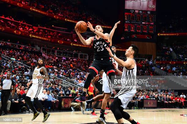 Fred VanVleet of the Toronto Raptors drives to the basket against the Atlanta Hawks on February 7 2019 at State Farm Arena in Atlanta Georgia NOTE TO...