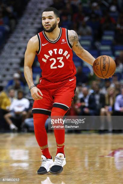 Fred VanVleet of the Toronto Raptors drives with the ball during the second half of a game against the New Orleans Pelicans at the Smoothie King...