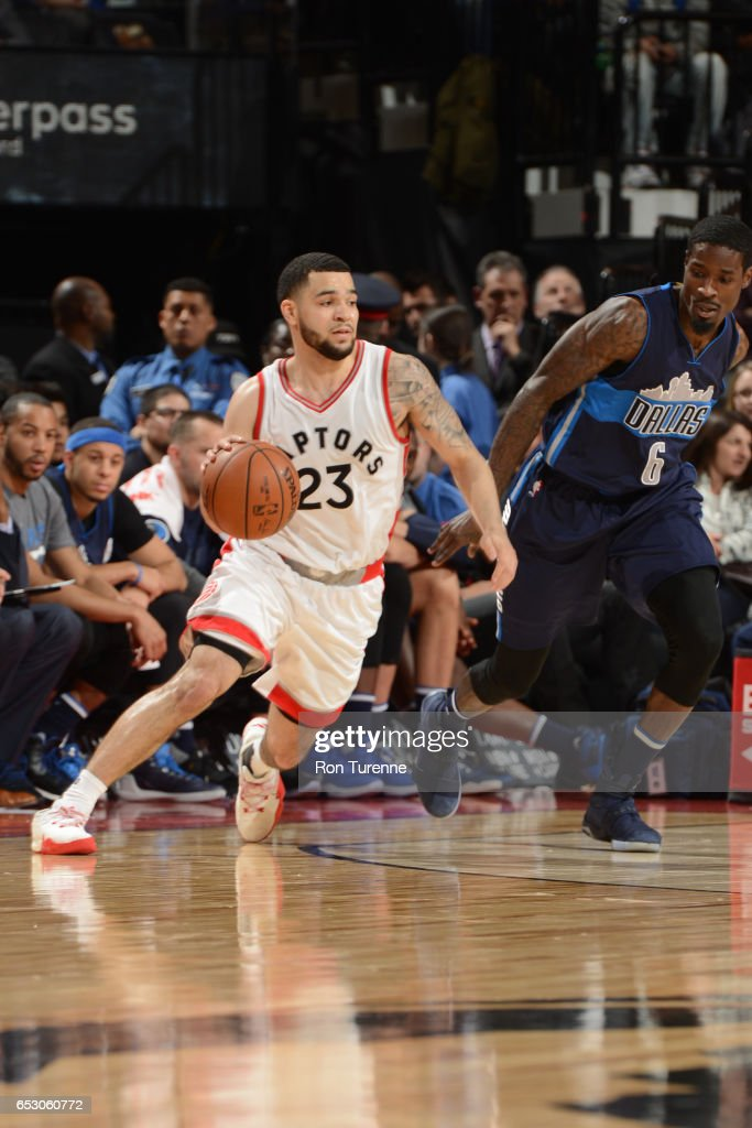 Fred VanVleet #23 of the Toronto Raptors handles the ball against the Dallas Mavericks on March 13, 2017 at the Air Canada Centre in Toronto, Ontario, Canada.
