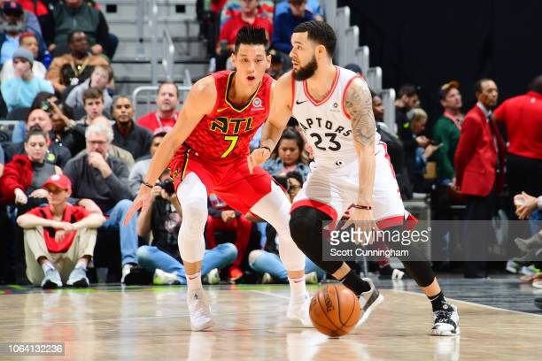 Fred VanVleet of the Toronto Raptors handles the ball during the game against Jeremy Lin of the Atlanta Hawks on November 21 2018 at the State Farm...