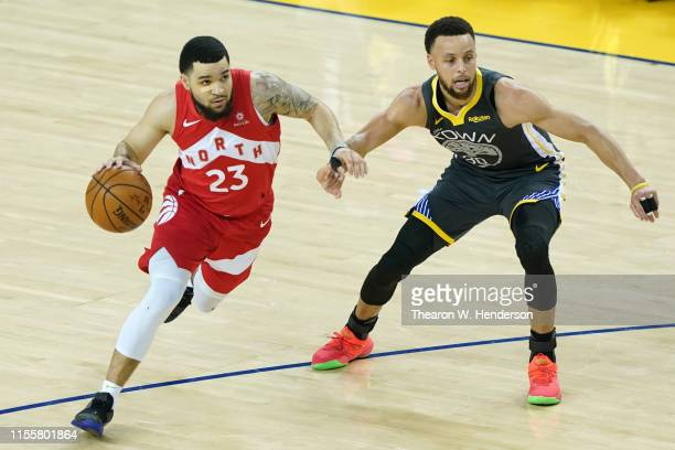 Fred VanVleet of the Toronto Raptors is defended by Stephen Curry of the Golden State Warriors in the first half during Game Six of the 2019 NBA...