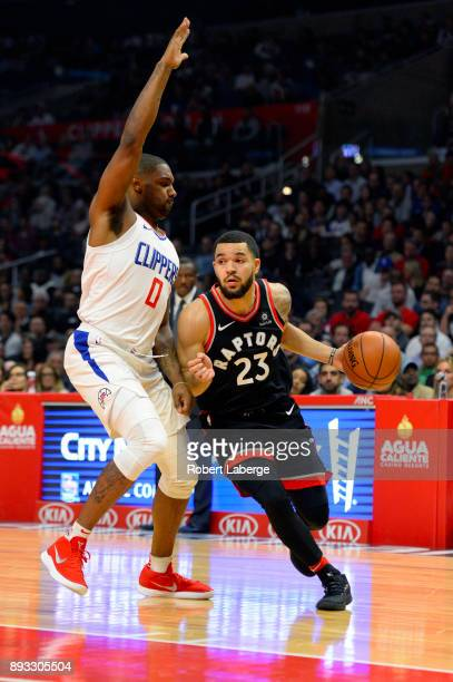 Fred VanVleet of the Toronto Raptors plays against Sindarius Thornwell of the Los Angeles Clippers on December 11 2017 at STAPLES Center in Los...