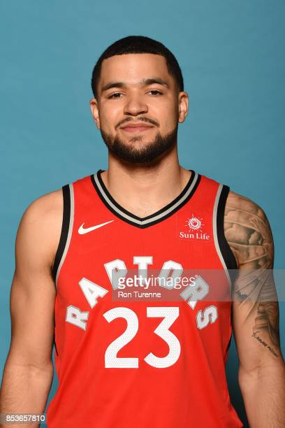 Fred VanVleet of the Toronto Raptors poses for a head shot during Media Day on September 25 2017 at the BioSteel Centre in Toronto Ontario Canada...