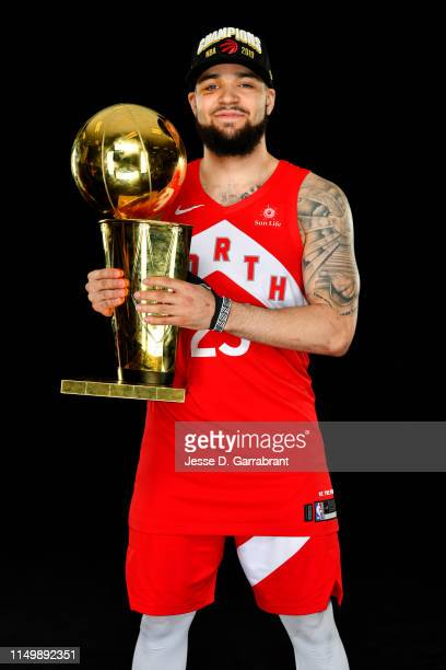 Fred VanVleet of the Toronto Raptors poses for a portrait with the Larry O'Brien Trophy after winning Game Six of the 2019 NBA Finals against the...