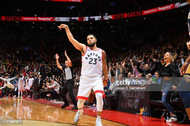 Fred VanVleet of the Toronto Raptors reacts after a threepointer against the New Orleans Pelicans on October 22 2019 at the Scotiabank Arena in...