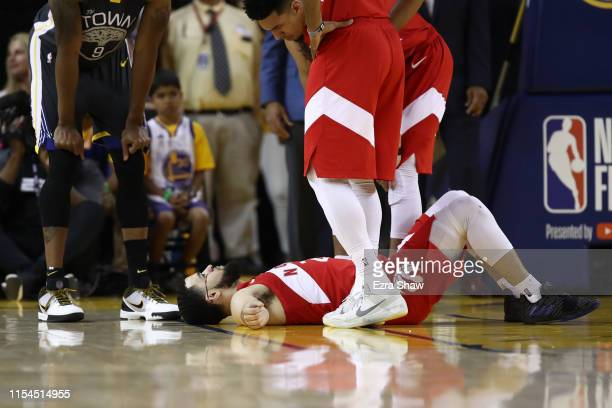 Fred VanVleet of the Toronto Raptors reacts after taking an elbow to the forehead against the Golden State Warriors in the second half during Game...