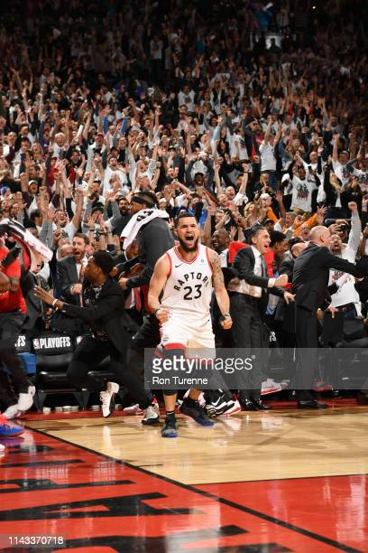 Fred VanVleet of the Toronto Raptors reacts after the Toronto Raptors win Game Seven of the Eastern Conference SemiFinals of the 2019 NBA Playoffs...